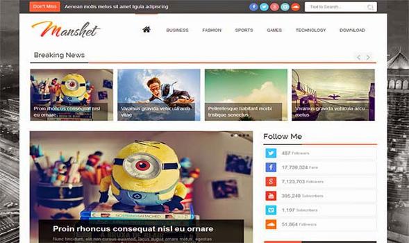 Manshet Responsive Blogger Template