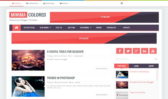 Minima Colored Responsive Blogger Template