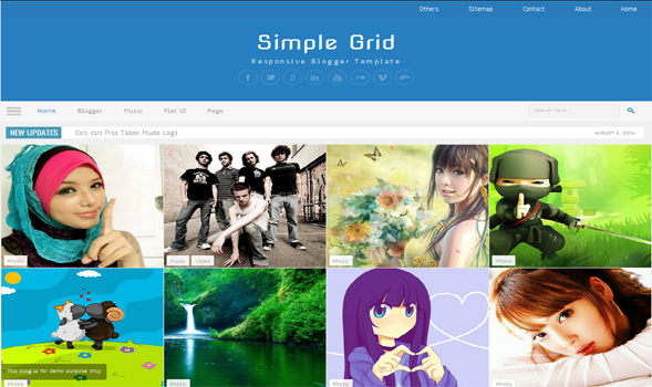 Simple Grid Responsive Blogger Template Blogspot Templates 2018