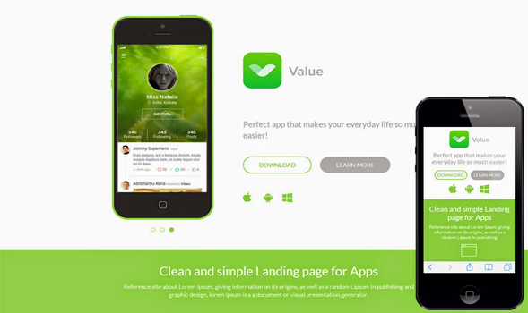 Value Responsive Mobile App Blogger Template
