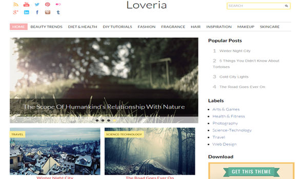 Loveria Fashion Responsive Blogger Template