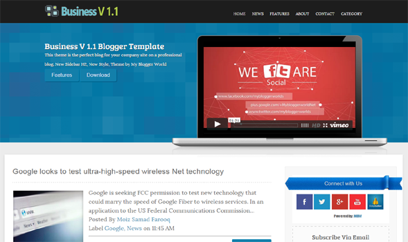 Business V 1.1 Responsive Blogger Template
