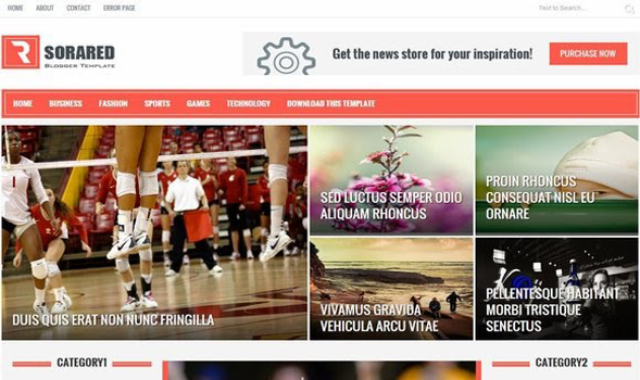 Sora Red Responsive Blogger Template