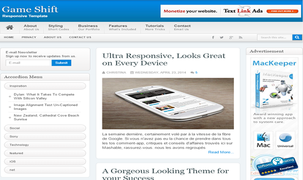 Game Shift Responsive Blogger Template