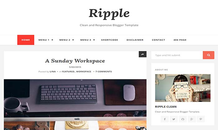 Ripple blogger template for Pro photo blog templates