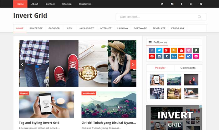 Invert Grid Blogger Template