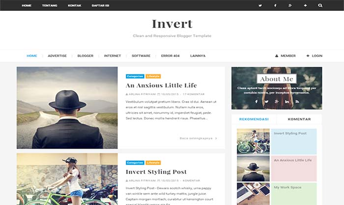 Invert Blogger Template