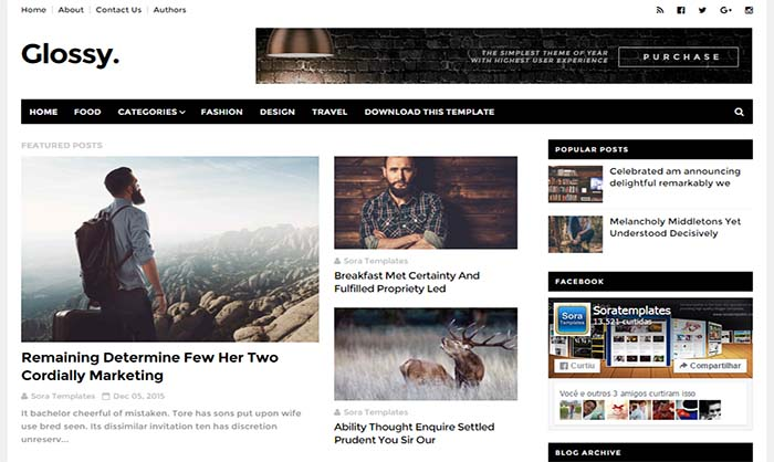 Glossy Blogger Template