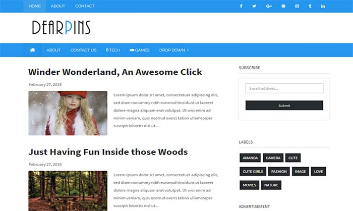 Dearpins Blogger Template
