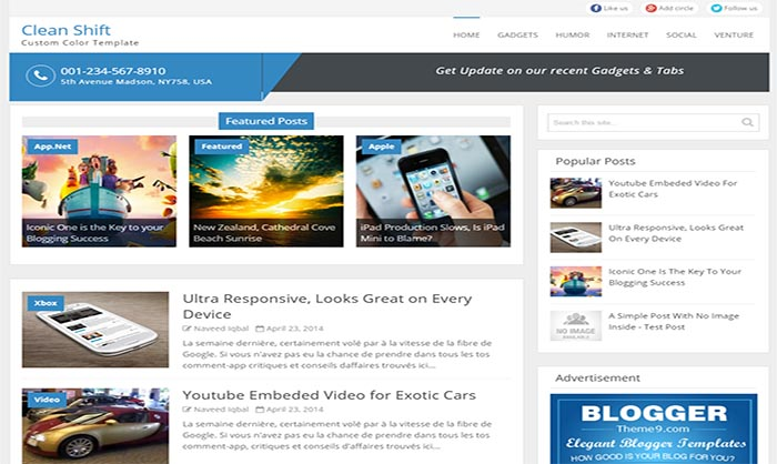 Clean Shift Blogger Template