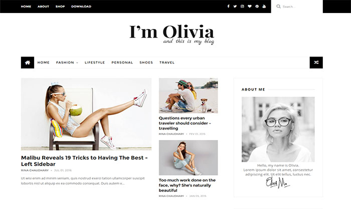 Olivia Blogger Template