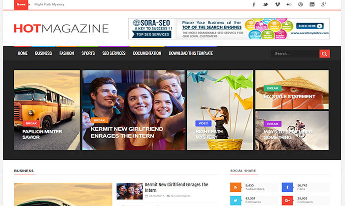 Hot magazine blogger template wajeb Image collections
