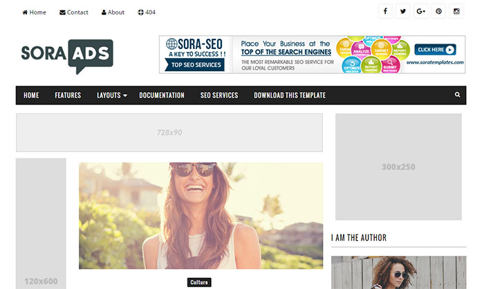 Sora Ads Blogger Template