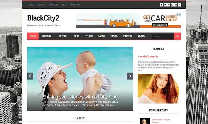 BlackCity 2 Blogger Template