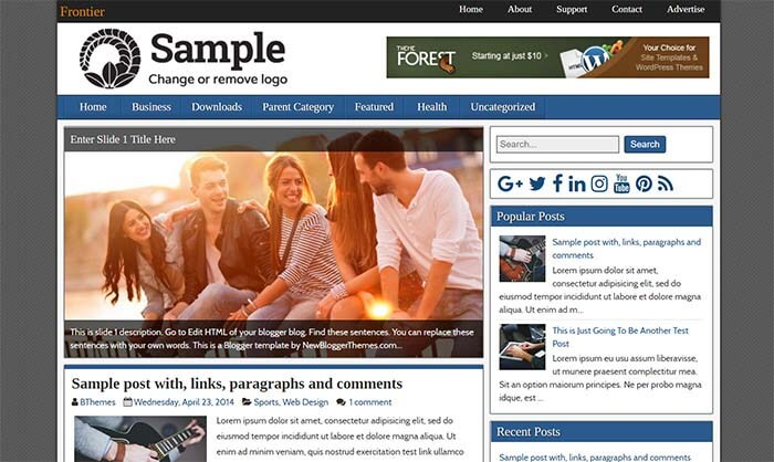 Frontier Blogger Template