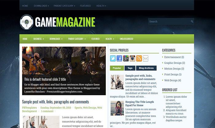 GameMagazine Blogger Template